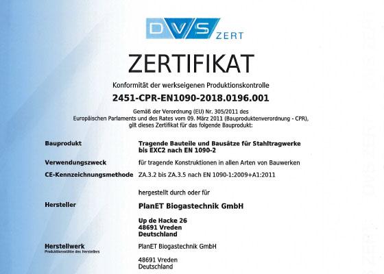 DVS-Zertifikat PlanET